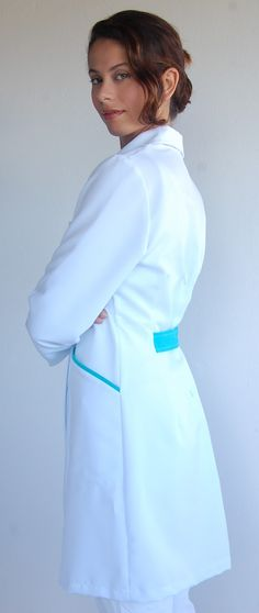Salon Uniform, Cna Nurse, Scrubs Uniform, Medical Uniforms, Kokoro, Work Wear, Cold Shoulder Dress, High Neck Dress, Couture