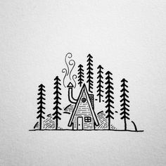 A simple line drawing of an a frame cabin                                                                                                                                                                                 More