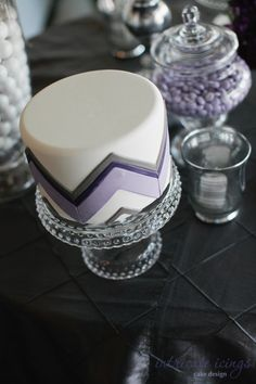 chevron cake... I like the color combination! Purple and silver wedding...