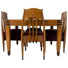 Amsterdam School Set of Table, Chairs and Tea Cabinet by Hildo Krop
