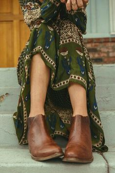 Forest Green Maxi :: Romantic Maxi Dress :: Bohemian Flow :: Boho Style