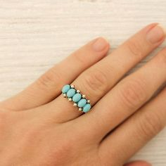 More money than I'd spend, but oh so pretty! --- Antique Victorian Gold Turquoise Pearl Ring by ErstwhileJewelry, $500.00