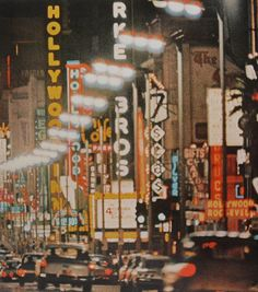 1962 HOLLYWOOD Los Angeles California Neon Signs vintage 1960s photo night by Christian Montone, via Flickr
