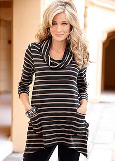 Black & Tan (BKTA) Cowl Neck Tunic $32  You can't top this striped look! · 	 Cowl neckline and sharkbite hem   · 	 Poly/viscose/elastane   · 	 Imported  · 	Style #J3765