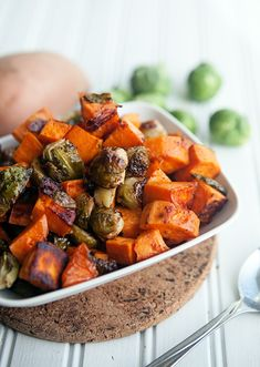 Maple Chipotle Roasted Sweet Potatoes and Brussels Sprouts