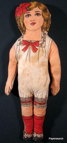 Rare Original 1913 American Beauty Cloth Doll with Orig Tag Empire Art Chicago