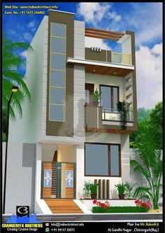 Small House Exteriors, Modern Exterior House Designs, Modern Design, Front Elevation Designs, House Elevation, Independent House, Architectural House Plans, Home Planner, New House Plans