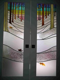 French Doors. Stained and Leaded Acrylic Window Art by Lynette Chubb