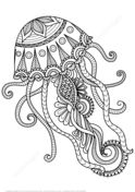 Jellyfish Zentangle Coloring page