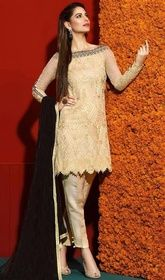 Cream Color Embroidered Georgette Pant Style Suit