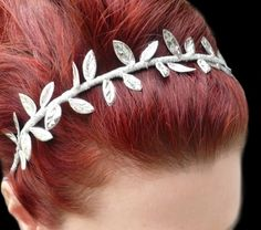 Sale  Grecian Headband Silver Leaf Headband  by RoseoftheMire, $29.00