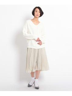 プリーツスカート(膝丈スカート)|OZOC(オゾック)|ファッションウォーカー
