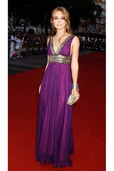 Keira Knightley looks stunning in a jewel-tone Matthew Williamson gown (2005)