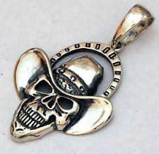 Skull SHAPE Pendant Sterling silver 925 Hand Made flat Lot 253