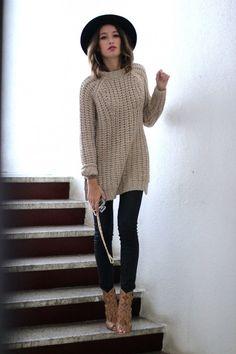 beige, chunky, knit, sweater