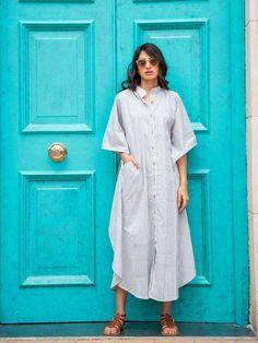 Grey Stripes Daabu Kaftan Cotton Shirt Dress - Pinklay Cotton Kaftan, Silk Kaftan, Cotton Shirt Dress, Neck Piece, Yellow Stripes, Going Out, Indigo, Shirts, Dresses