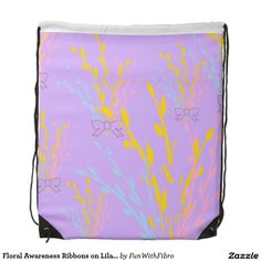 Floral Awareness Ribbons on Lilac Purple Drawstring Bags