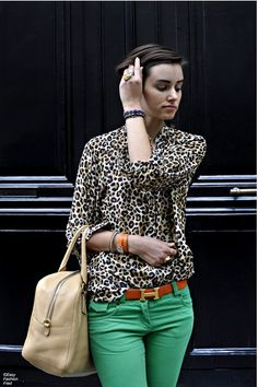 Love the animal print and color denim!!! Now if I could find jeans this color