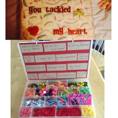 My boyfriend loves fishing, so I filled a tackle box with candy for Valentines #valentines #tacklebox #boyfriend #cute #adorable #love