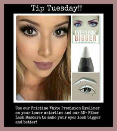 Tip Tuesday! Use Pristine liner on your lower waterline to make eyes appear lar… Tip Tuesday! Use Pristine liner on your lower waterline to make eyes appear larger! How To Do Eyeshadow, Grey Eyeshadow, How To Do Eyeliner, Simple Eyeliner, White Eyeliner, Natural Eyeshadow, Best Eyeliner, Glitter Eyeshadow, Natural Makeup