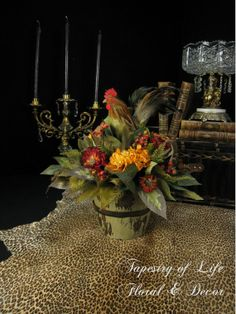 Silk Flower French Country Rooster Floral by tapestryoflife, $83.00