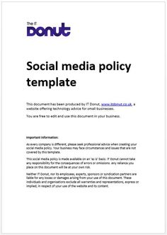 Best Social Media Policy Images On Pinterest Social Media - Small business policy templates