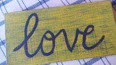 Solid Oak mustard yellow love sign wedding by iheartsigns on Etsy, $22.00