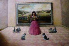 "Saatchi Art Artist rodrigo piedrahita; Painting, ""cats and girl"" #art"