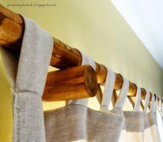 drewniany karnisz z patyka