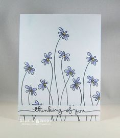 Bits & Pieces: CAS(E) THis Sketch - floral stamp from Penny Black Enamor stamp set crafts ideas flower Hand Drawn Cards, Card Drawing, Drawing Ideas, Flower Doodles, Flower Stamp, Penny Black, Sympathy Cards, Greeting Cards, Watercolor Cards