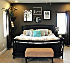 Love the dark accent wall. Idea for new master bedroom.