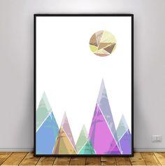 Mountain Printable, Scandinavian Print, Nordic Print, Triangle Print, Moon Print, Pink Print, Grey Print, Mountains Print