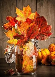 Love this simple fall decorating idea for your table in the autumn or at Thanksgiving. #fall #centerpieces