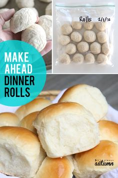 Make ahead dinner rolls recipe! How to make roll dough in advance and freeze it to bake later. Perfect for holiday dinners! The post how to make rolls in advance & bake later {fridge & freezer methods appeared first on Win Dessert. Focaccia Bread Recipe, Bread Dough Recipe, Roll Dough Recipe, Yeast Bread, How To Make Rolls, How To Make Dough, Pain Bagel, Frozen Dinner Rolls, Frozen Bread Dough