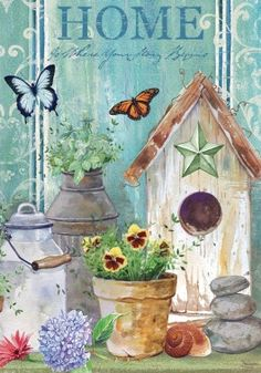 Birdhouse and butterflies decorative outdoor garden flag. Home is at the top of the primitive country flag. www.gabrielsgiftsandmore.com