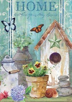 Birdhouse Home decorative primitive country garden or house flag.   www.gabrielsgiftsandmore.com