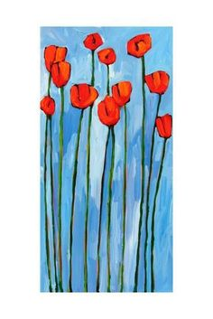 Poppies On Blue - 2 Of 3 Prints by Patty Baker at AllPosters.com