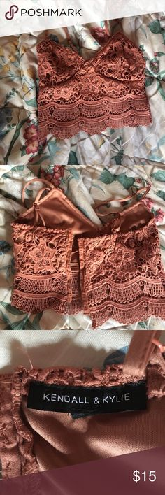 Kendall and Kylie Crochet Bralette from PacSun Kendall and Kylie Crochet Bralette from PacSun. It is pink and have been worn once! I am a cup B and it fit me really good when I tried it on. Kendall & Kylie Tops Crop Tops