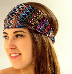 Head Wrap Women's Aztec Headband, Wide Hair Wrap, multicolor headband, Head Wrap with Elastic Back and colorful zig-zag print for Women. Head Wrap Headband, Headbands For Women, Loose Hairstyles, Top Knot, Zig Zag, Head Wraps, Hair Band, Aztec, Looks Great