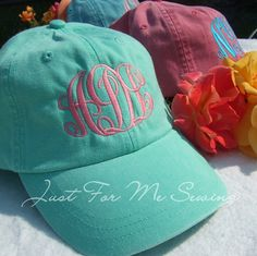 Monogrammed Baseball Cap by JustForMeSewing on Etsy, $18.99    must remember to order