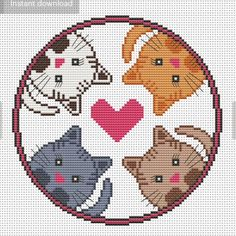 4 cats cross stitch pattern Cat cross stitch Cat embroidery Having a fit and fit Cat Cross Stitches, Cross Stitch Charts, Cross Stitch Designs, Cross Stitching, Easy Cross Stitch Patterns, Cat Embroidery, Cross Stitch Embroidery, Embroidery Patterns, Loom Patterns
