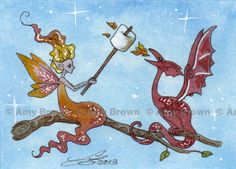 ORIGINAL dragon and Fairy Wisp ACEO PAINTING by Amy Brown. via Etsy.