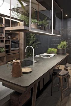 """you must read full article to get the proper inspiration to decorate and design your Industrial Kitchen Design. So Checkout Inspirational Industrial Kitchen Design And Ideas"""" Stylish Kitchen, New Kitchen, Kitchen Dining, Kitchen Decor, Natural Kitchen, Rustic Kitchen, Smart Kitchen, Earthy Kitchen, Kitchen Industrial"""