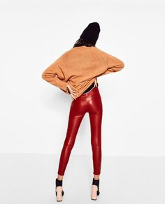 Image 5 of LEATHER EFFECT LEGGINGS from Zara