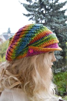 57cccdbfa47263 Knitted and Crocheted PEAKED Cap beanie Slouchy by DosiakStyle #handmadehat# hats Peaked Cap,