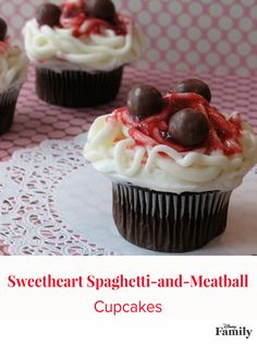Try a Lady and the Tramp-inspired cupcake recipe for Valentine's Day! Piled with a generous serving of sweet spaghetti and candy meatballs, these saucy cupcakes are certain to please your valentine.