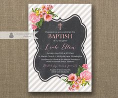 Pink Bloom & Chalkboard Baptism Invitation with gray strips and shabby chic blush pink roses by digibuddhaPaperie, $20.00