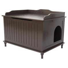 Bench-shaped litter box enclosure with beadboard panels.    Product: Litter box enclosureConstruction Material: Wood...