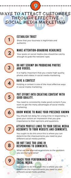 9 Ways How to Attract Customers Through Effective Social Media Marketing Infographic Social Media Site, Social Media Marketing, How To Attract Customers, Attraction, Infographic, How To Apply, Business, Infographics, Store