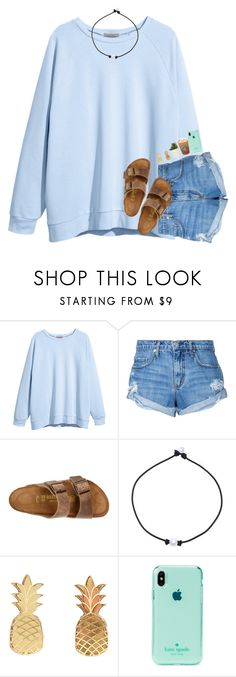"""hackedddddd ily"" by arielforlife ❤ liked on Polyvore featuring H&M, Nobody Denim, Birkenstock, Vinca and Kate Spade"